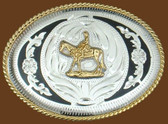 Horse & Rider German Silver Belt Buckle/Black Trim,