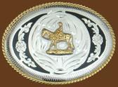 Horse & Rider German Silver Belt Buckle/Black Trim,