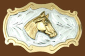 Horsehead German Silver Belt Buckle