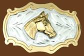 Horsehead German Silver Belt Buckle