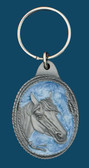 Horsehead Key Ring, Light Blue Enamel