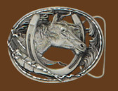 "Horsehead/Horseshoe Belt Buckle, Cut Out, Diamond Cut  3"" x 2-1/4"""