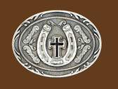 Horseshoe Cross Belt Buckle, Black Enamel
