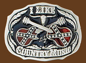 "I Like Country Music Belt Buckle, 3"" x 2-1/4"""