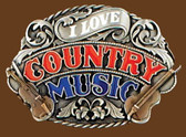 I love Country Music Belt Buckle, Enamel
