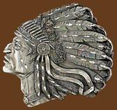 "Indian Head Belt Buckle, Diamond Cut  3-1/2"" x 3"""