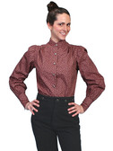 Floral Style Ranch Burgundy Blouse