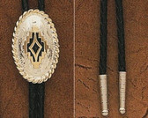 JUSTIN Silver Bolo Tie - Oval Shaped 9448
