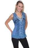 Ladies Blue Lace Camisole