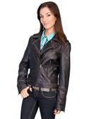 LADIES BLACK SOFT LAMB MOTORCYCLE JACKET 62324