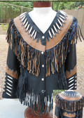LADIES ALL LAMBSKIN JACKET WITH FRINGE AND BEADWORK.