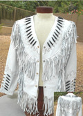 LADIES ALL WHITE LAMBSKIN JACKET WITH FRINGE AND BEADWORK.