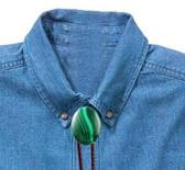 Malachite Oval Cabochon Bolo Tie