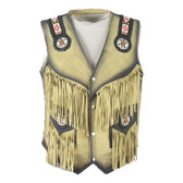 MENS ALL SUEDE  VEST NATIVE STYLE BEADED