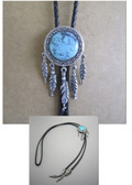 Native American Hand Tooled Real Turquoise/Silver Leather Cord Bolo Tie