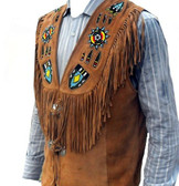 NATIVE PRIDE Hand Made and Beaded GERONIMO VEST ALL BUFFALO SKIN LEATHER