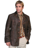Leather Mens Brown Calf Suede Leather Car Coat  62390