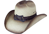PANAMA Cowboy Hat, cattleman style w/ tea stained,