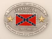 "Pewter Georgia Battle Flag Belt Buckle, 4"" x 3"""