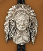 Pewter Indian Headress Bolo Tie