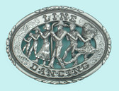 "Pewter Linedancing Belt Buckle, 3-3/4"" x 2-3/4"""