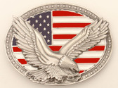 "Pewter Eagle on USA Flag Belt Buckle, 4"" x 3"""