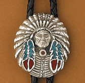 Pewter Turquoise & Coral Indian Chief Bolo Tie
