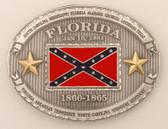 "Pewter Florida Battle Flag Belt Buckle, 4"" x 3""    d"