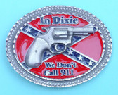 "Pewter We Don't Call 911 Belt Buckle, 4"" x 3"""