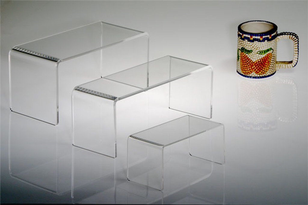 Clear acrylic rectangular risers  are perfect for a variety of retail displays.