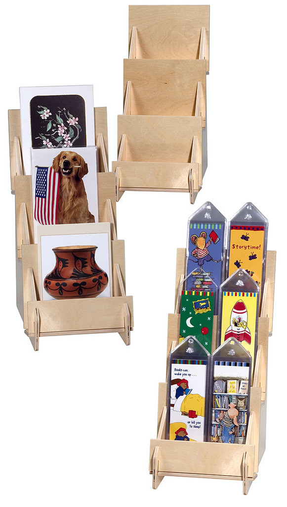 Plywood three shelf countertop rack for cards, bookmarks, and small items.
