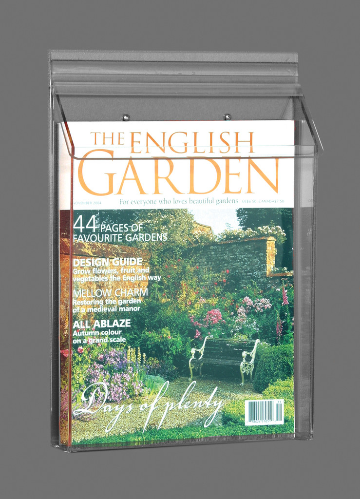 Clear acrylic full sheet sized brochure holder for outdoor wall mounting.