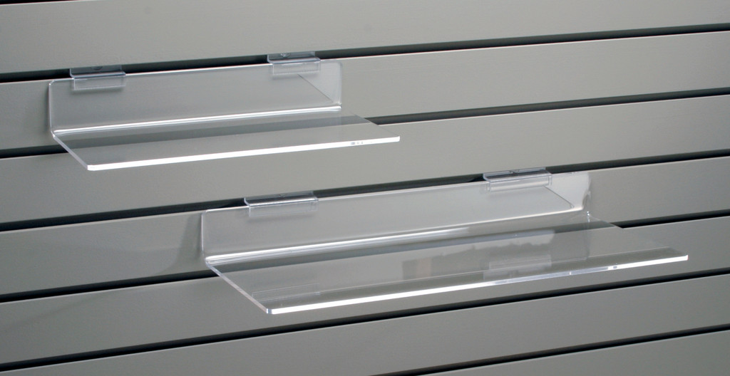 Clear acrylic flat shelf for slatwall.