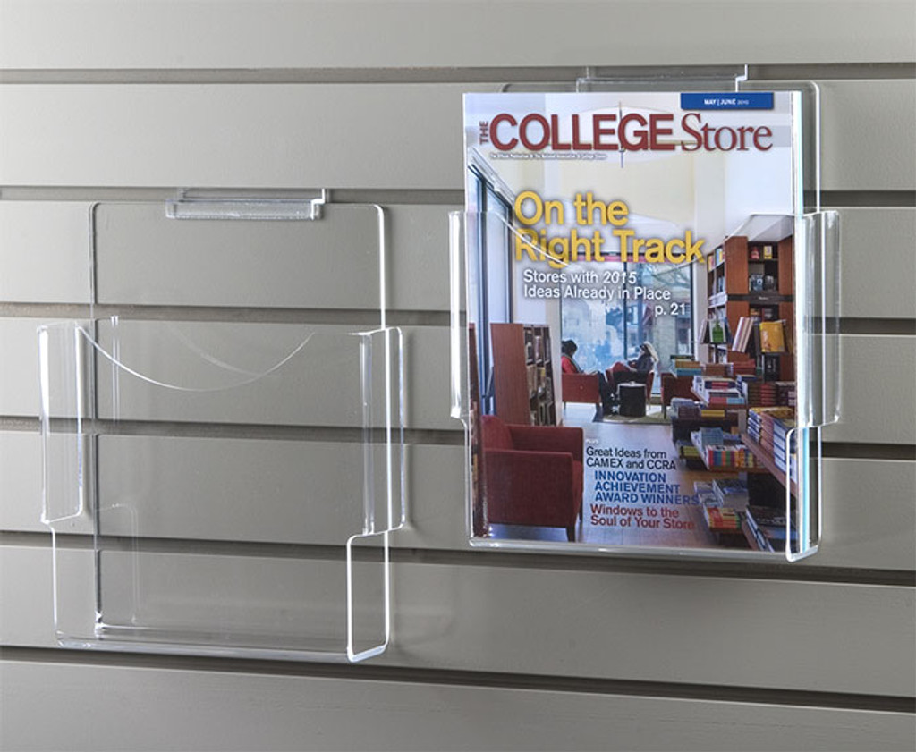Clear acrylic slatwall brochure holder for magazine and letter-sized brochures.