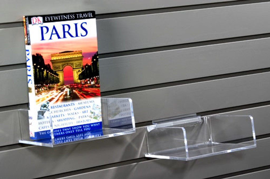 Clear acrylic slatwall bins without front lip for various items, sized for spinners or slatwalls.