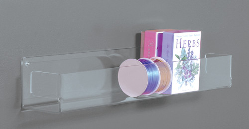 Heavy duty clear acrylic shelving with ends.