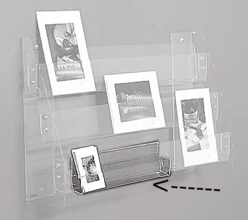 "Clear acrylic 12"" wide clip for small card display. To clip on to another shelf."