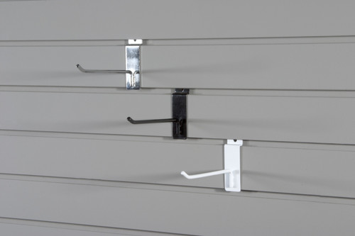 """These strong powder coated steel hooks will turn slatwall into a powerhouse. Hooks fit 1/4"""" perforations and angled tip makes them safe and secure."""