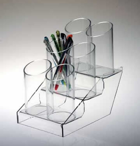 Clear acrylic stand with six slanting tubes for displaying pens, pencils, bookmarks, etc.