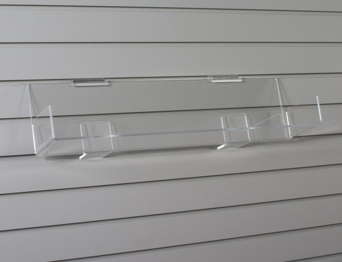 Perfect retail shelf for displaying CDs, books, or boxes on exisiting standard slatwall.