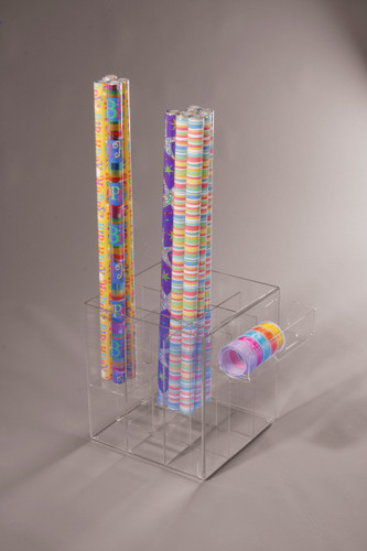 Clear acrylic display box with dividers for display of rolls of wrapping paper, or similar items.