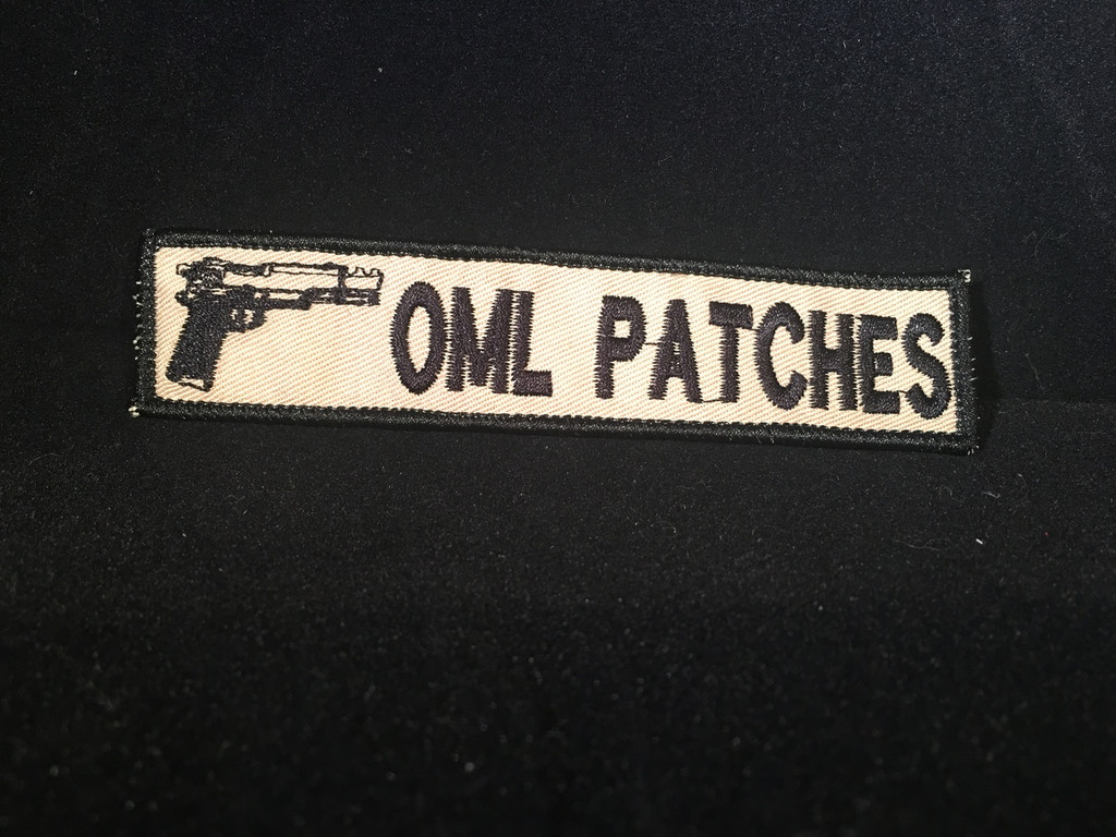 Merrowed namtape with pistol patch