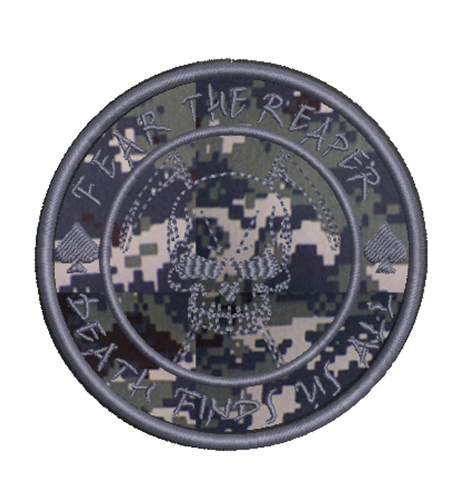 fear the reaper navy digital with silver thread