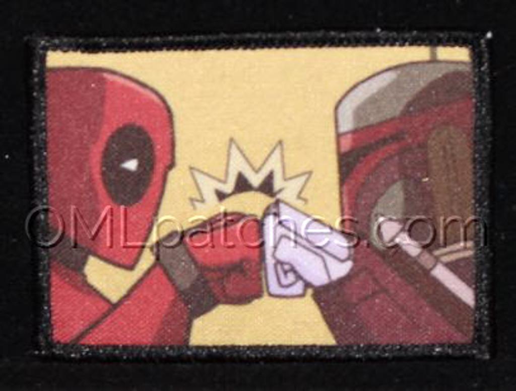 Deadpool/boba fett fist bump morale patch, printed in bright colors