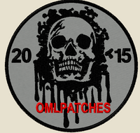 custom team morale patch blood skull on grey