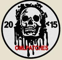 custom team morale patch blood skull on white thread