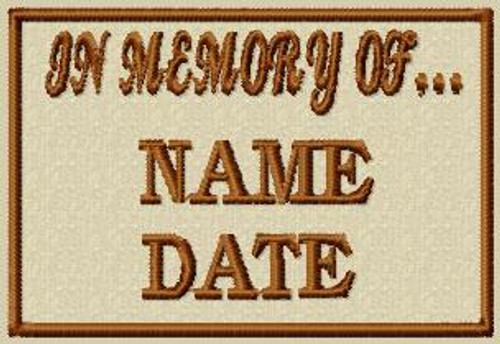 In Memory Of VELCRO® Brand Patch in tans, two lines
