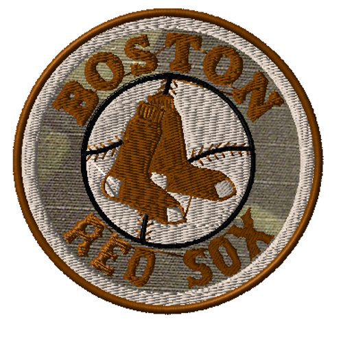 Boston Red Sox Tactical Patch in multicam background subdued tans threads.