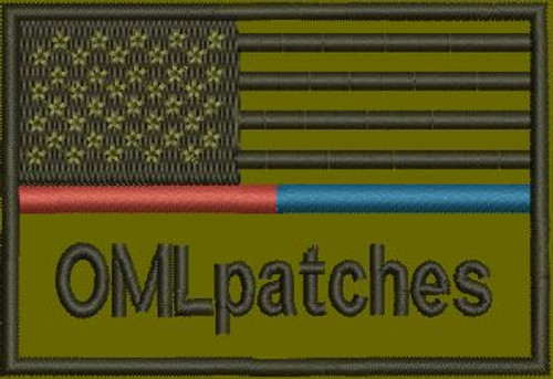 USA Red/Blue Line Custom Flag Patch