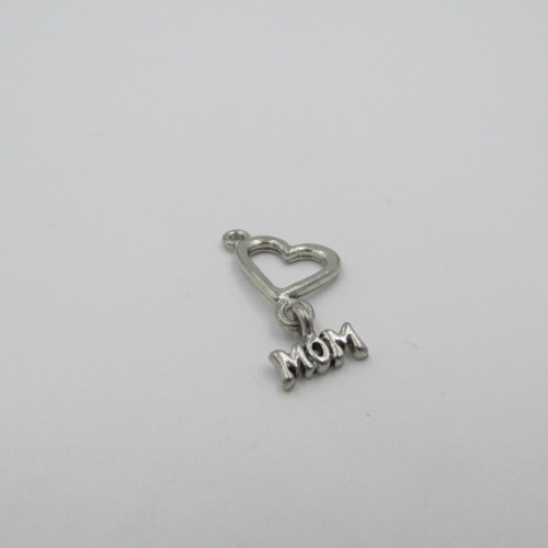 21x12 Heart with Mom Pewter Charm 7054